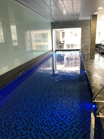 The indoor heated lap pool - there is also a heated spa, sauna and steam room. (Will take and upload more photos when the space is unoccupied)