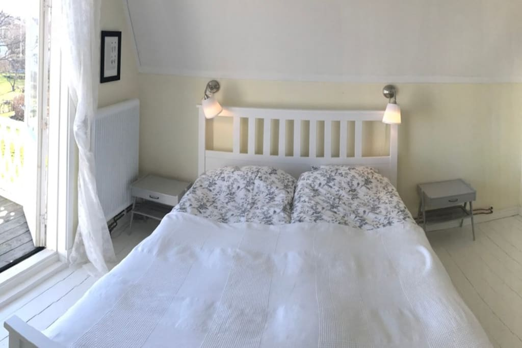 The Balcony room has a double bed and can be fitted with an extra floor mattress or a toddler bed.