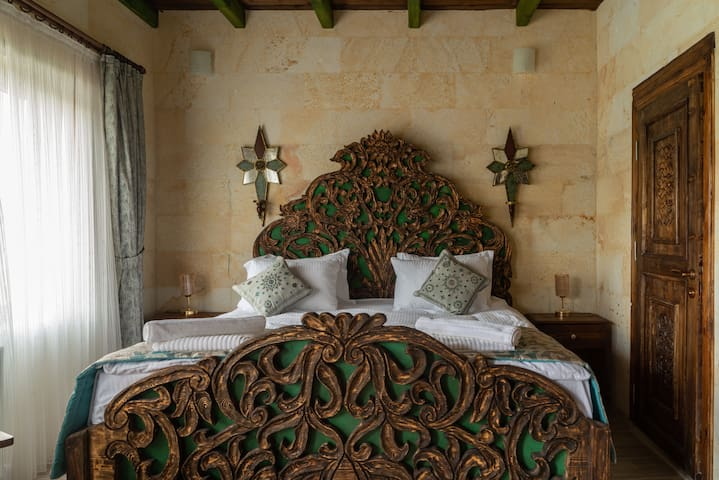 King size bed with wood carving