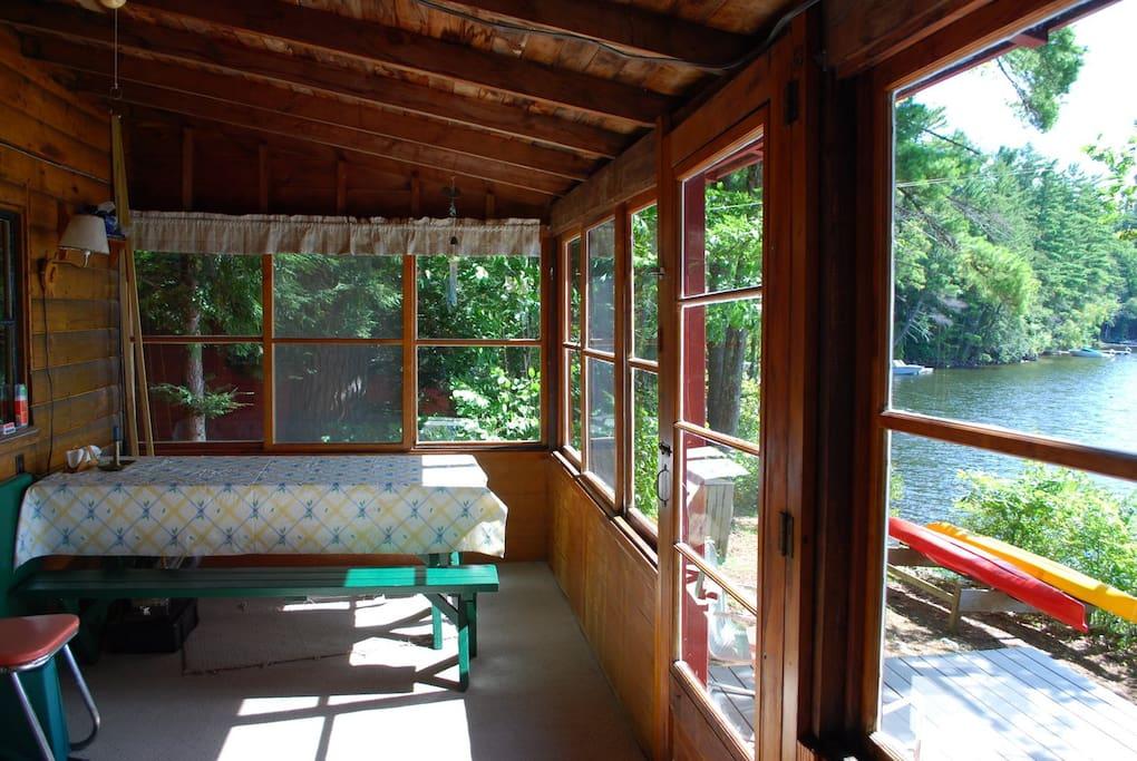 large three season glass porch facing the lake