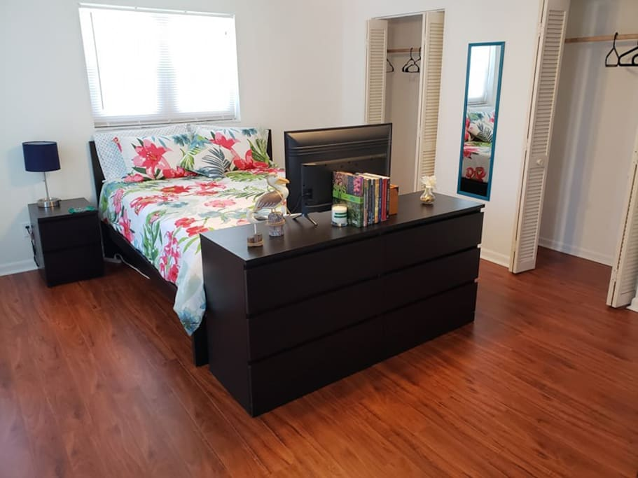 Private room with Smart TV (Netflix, HBO, Amazon Prime Streaming, News apps, etc.), dresser, mini-fridge, and large closet.