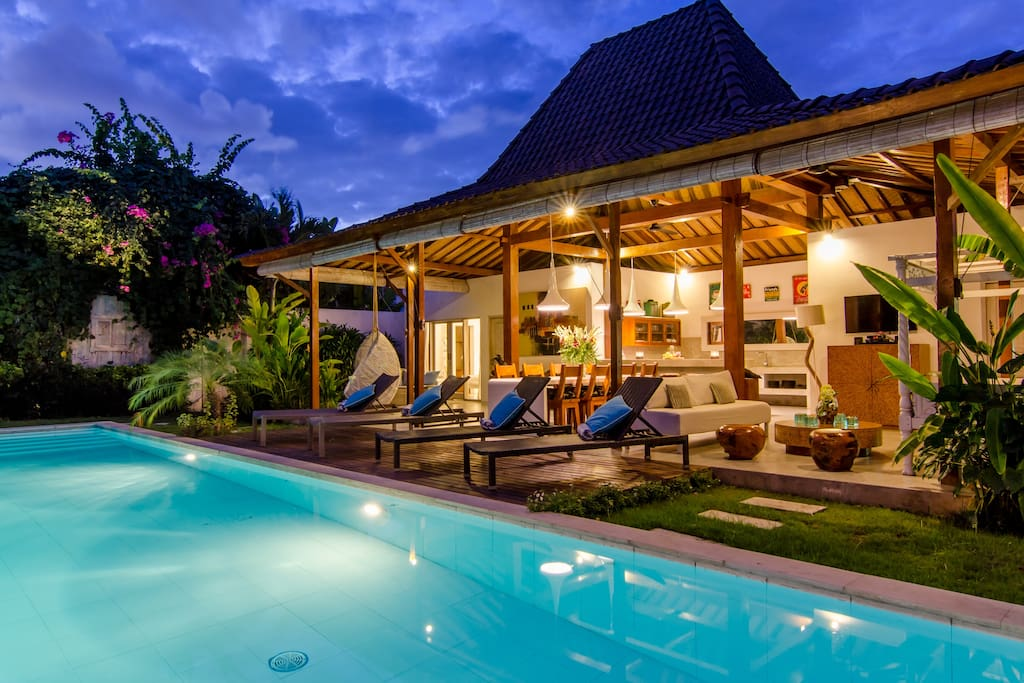 Villa exterior, living area, sun deck and private swimming pool
