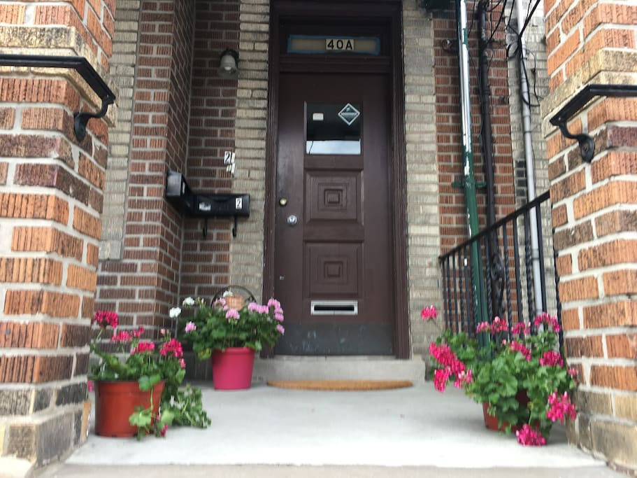front door of historic brick brownstone