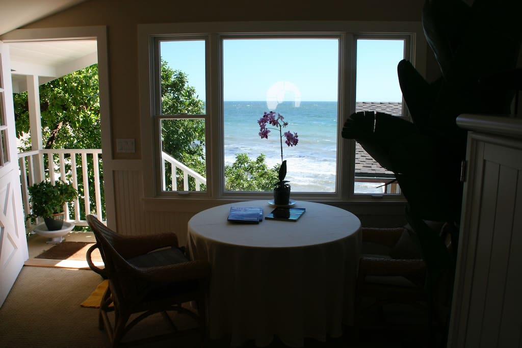 Private guest house overlooking the ocean, includes microwave, electric kettle and fridge.