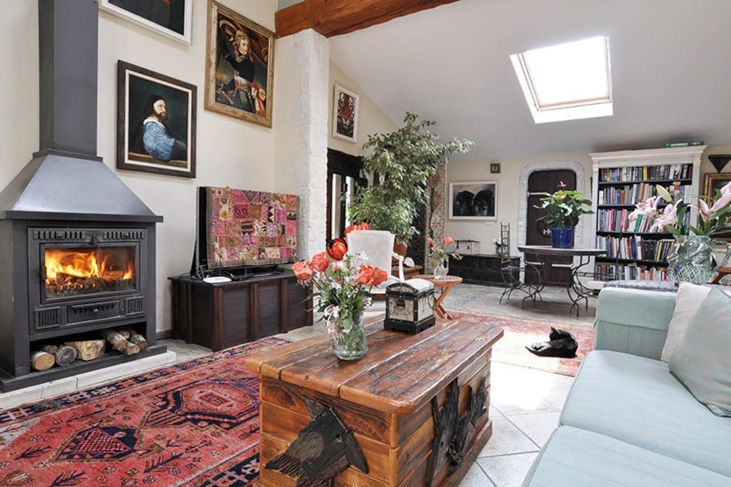 Upstairs living area cosy wood burning fireplace