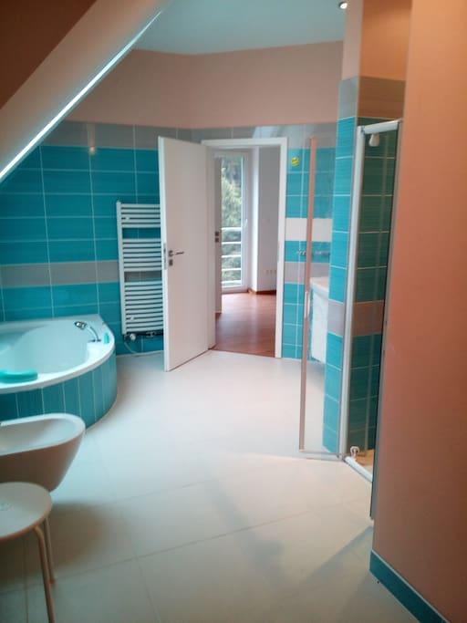 Gaestezimmer 1 Badezimmer 1 mit grosser Dusche und Badewanne