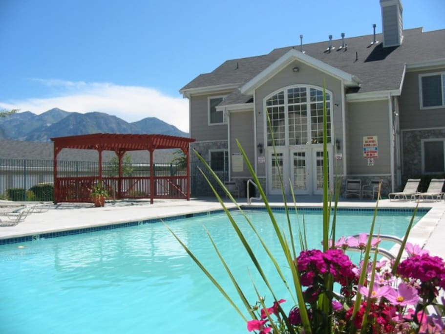 A beautiful view of the mountains from the pool/hot tub.