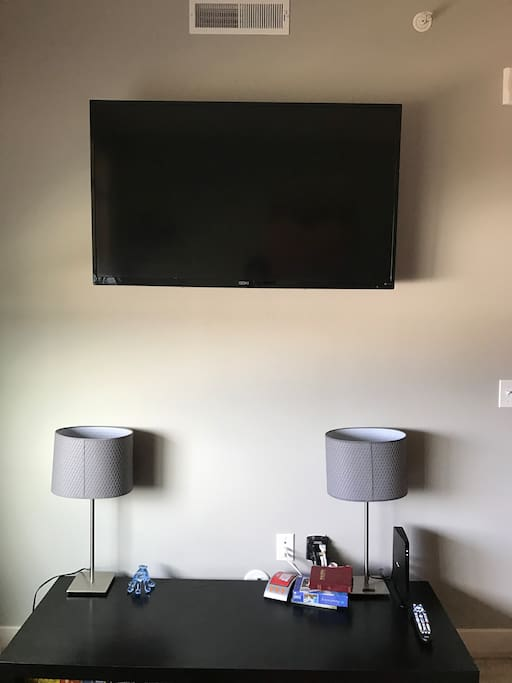 "60"" TV with cable and internet"