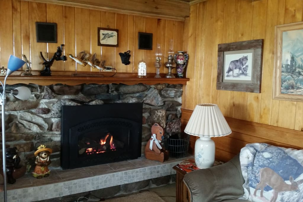 Gas fired fireplace in greatroom