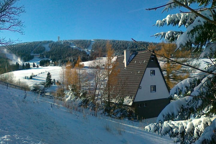 Detached house with garden and terrace. Sauna and stube with fireplace, 1km of ski lift
