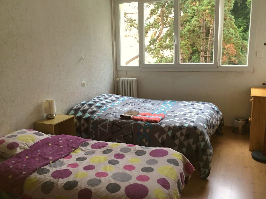 double bed and single bed for 3 guests
