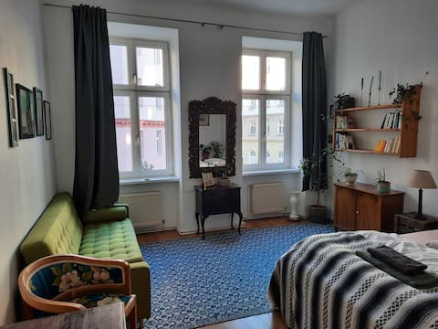 bright room in artsy flat close to city center
