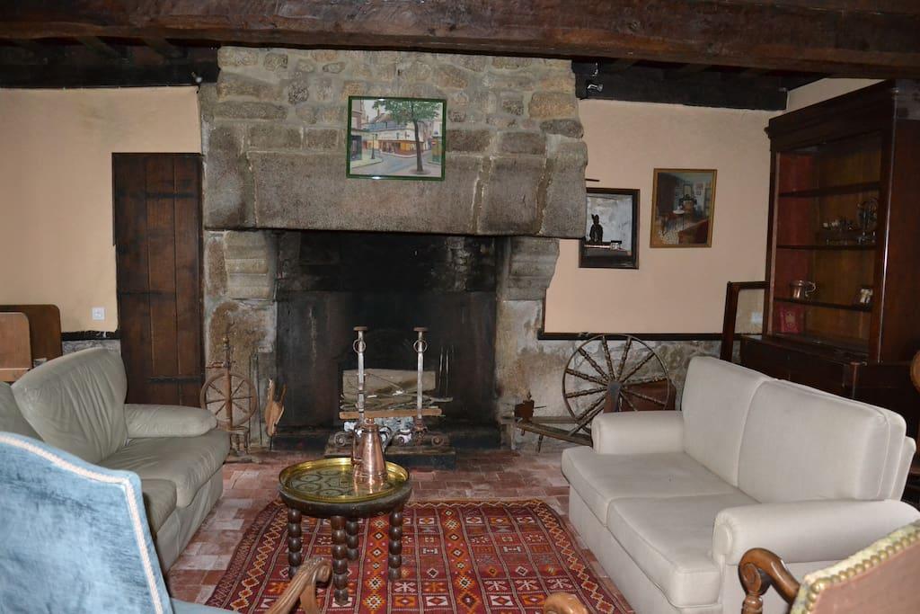 Le salon et la magnifique cheminée on peut faire du feu !