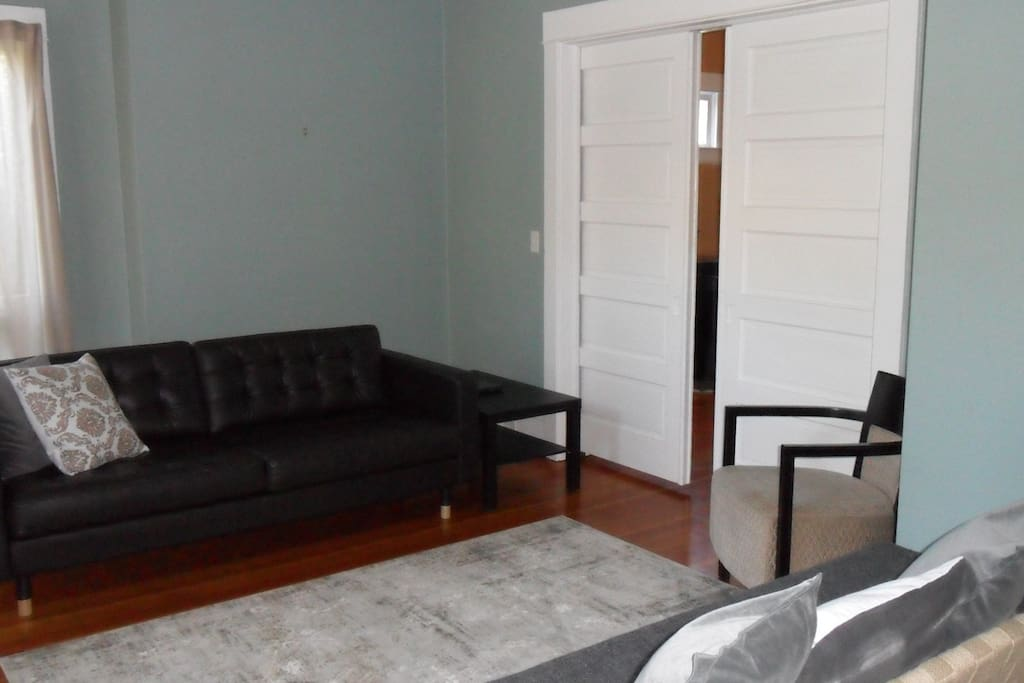 living room with pocket door