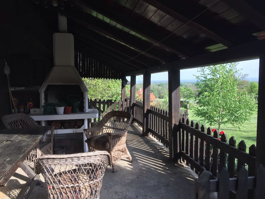Covered terrace with barbeque