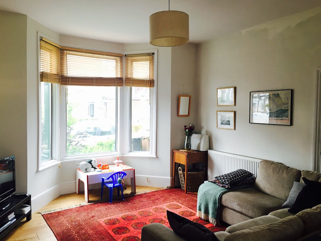 Front living room with bay window.