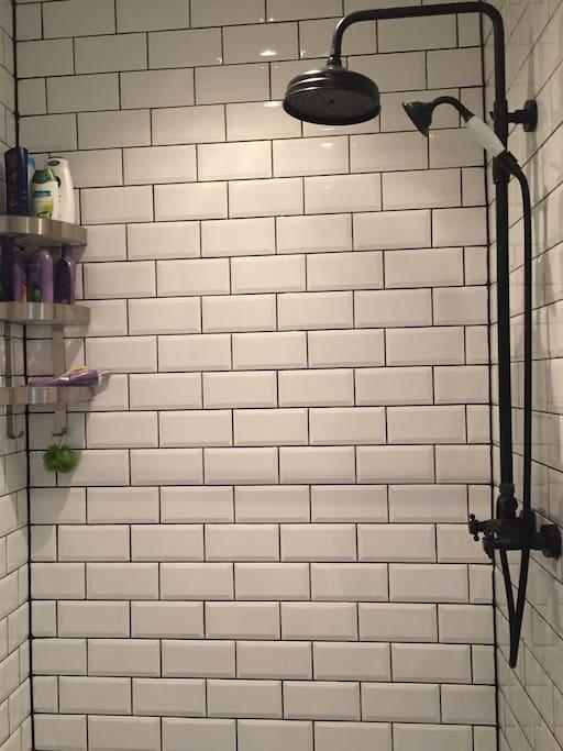 Bathroom (rainshower, normal shower, toilet, sink)
