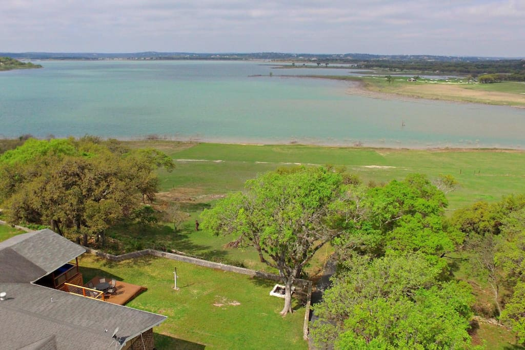 Aerial View of Home, Back Lawn, and Canyon Lake - Come enjoy the fun!