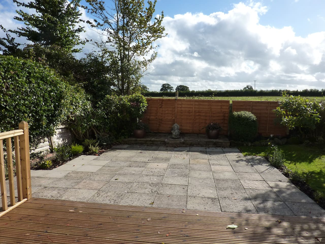 View out over decking/patio.