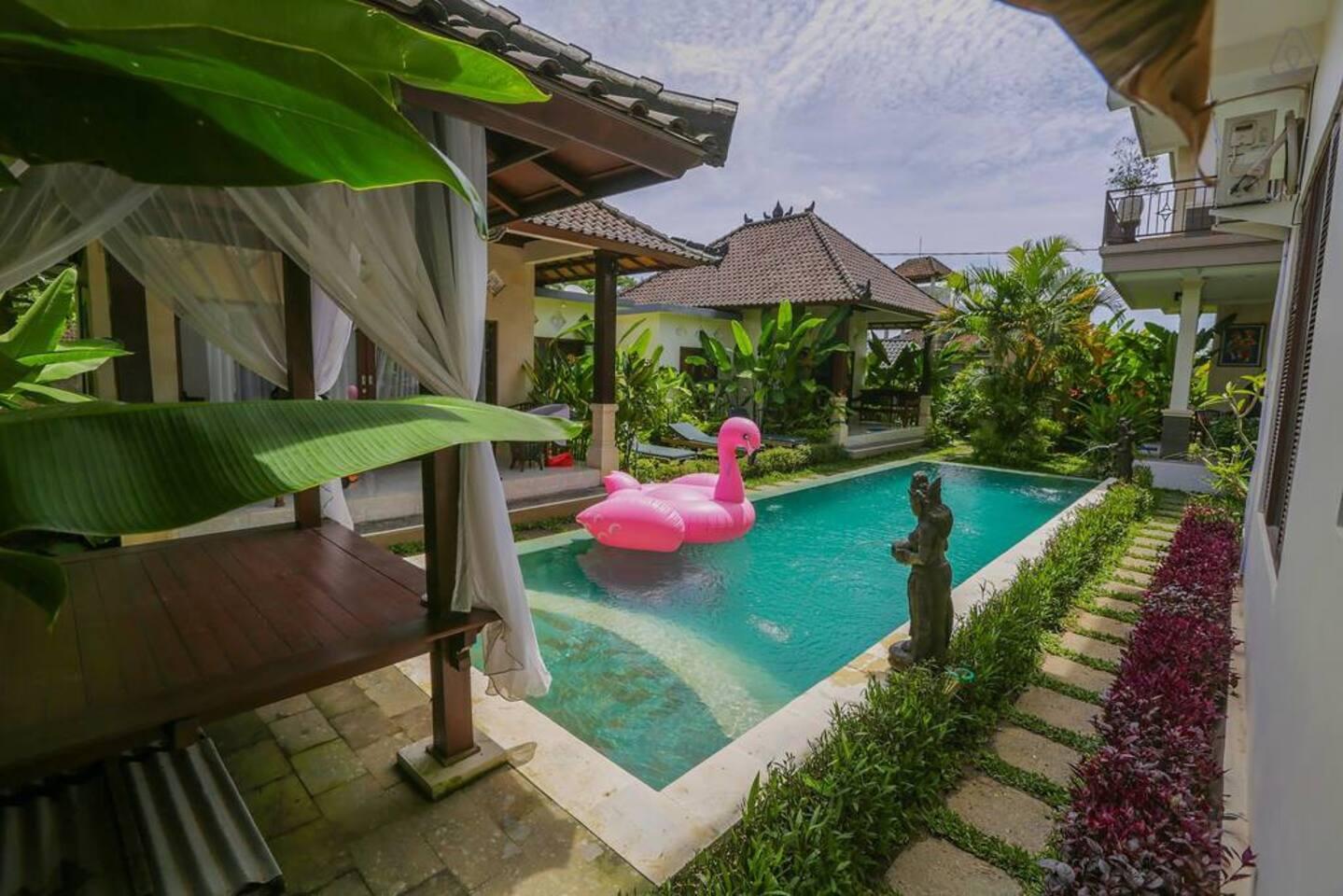 6 rooms + swimming pool + gazebo + free wifi +  good location