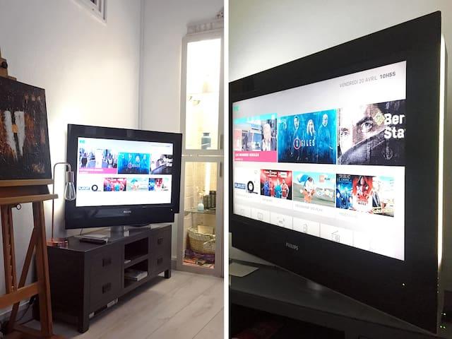 Télévision du salon, 100cm Philips Ambilight
