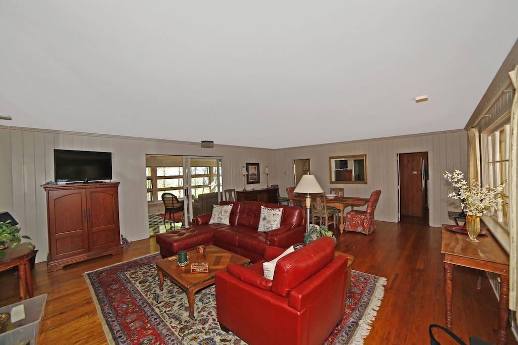 Wood floors open floor plan.