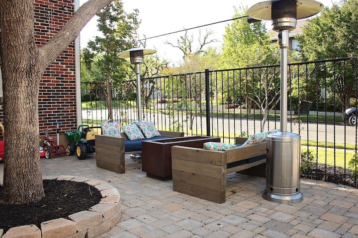 Custom furniture in the back yard.