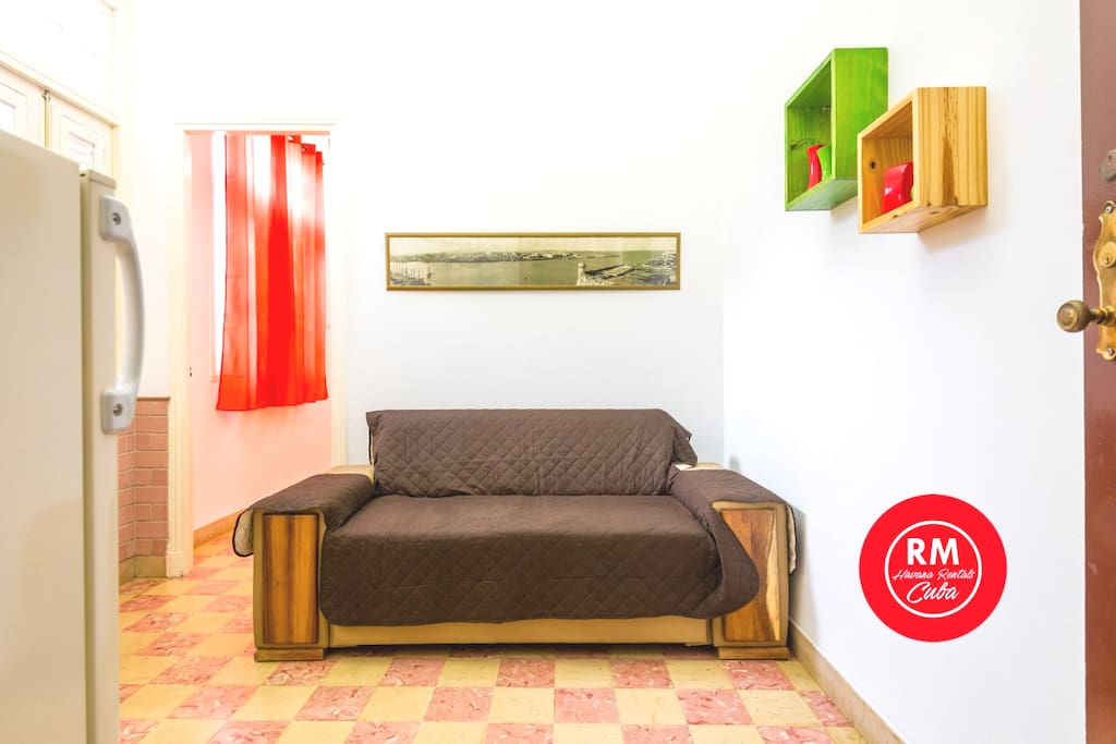 living with double sofa refrigerator and access to the bedroom on the background
