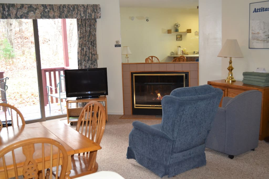 The studio offers plenty of comfortable living space as well as as a fireplace in winter and air conditioning in summer.