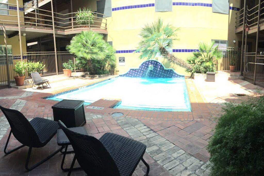 The cozy pool next door.