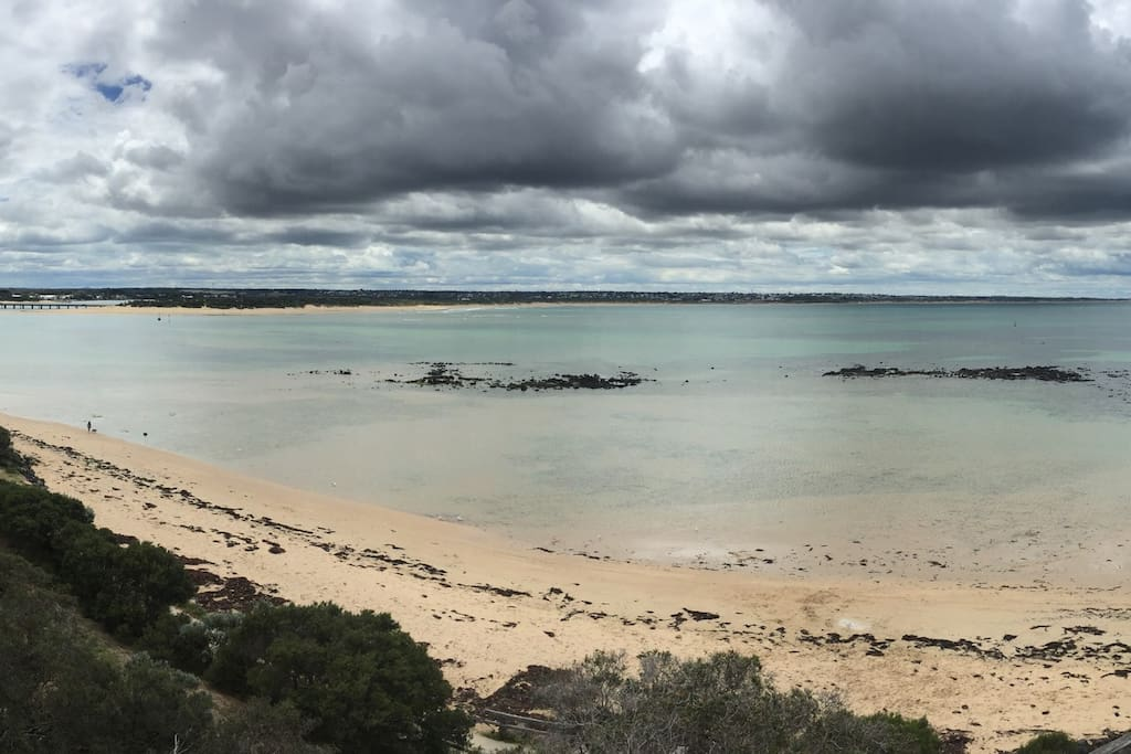 Panoramic, picturesque view across to Ocean Grove, taken from the Barwon Heads Bluff lookout. Breakers Private Room is situated near the Ocean Grove Boat Ramp.