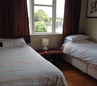 Twin beds, ideal for a travelling pair of friends. - Papakura