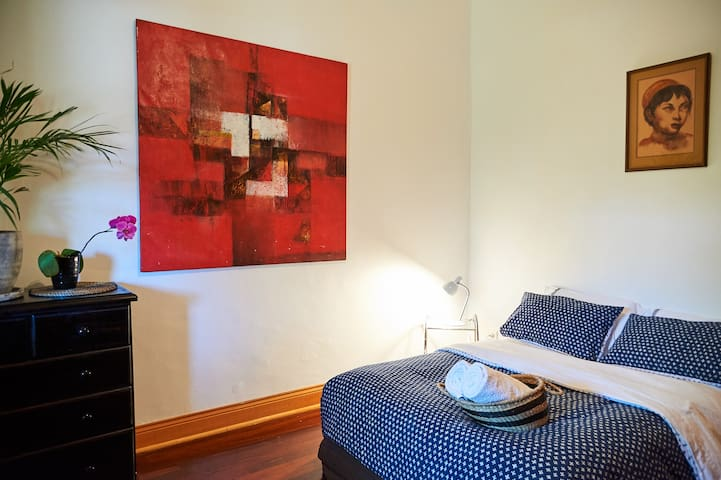 Guest Bedrooms are private & located at the front of the property. High ceilings, cool in summer.
