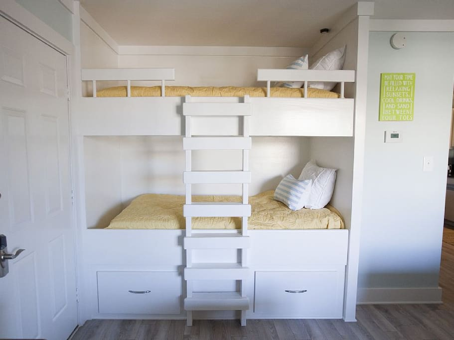 2 oversized bunk beds.  Adults fit comfortably on the bottom bunk.  Kids love both!