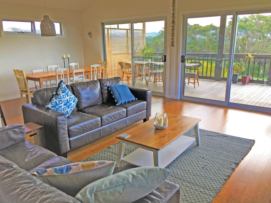upstairs living space, open plan with access to the huge balcony