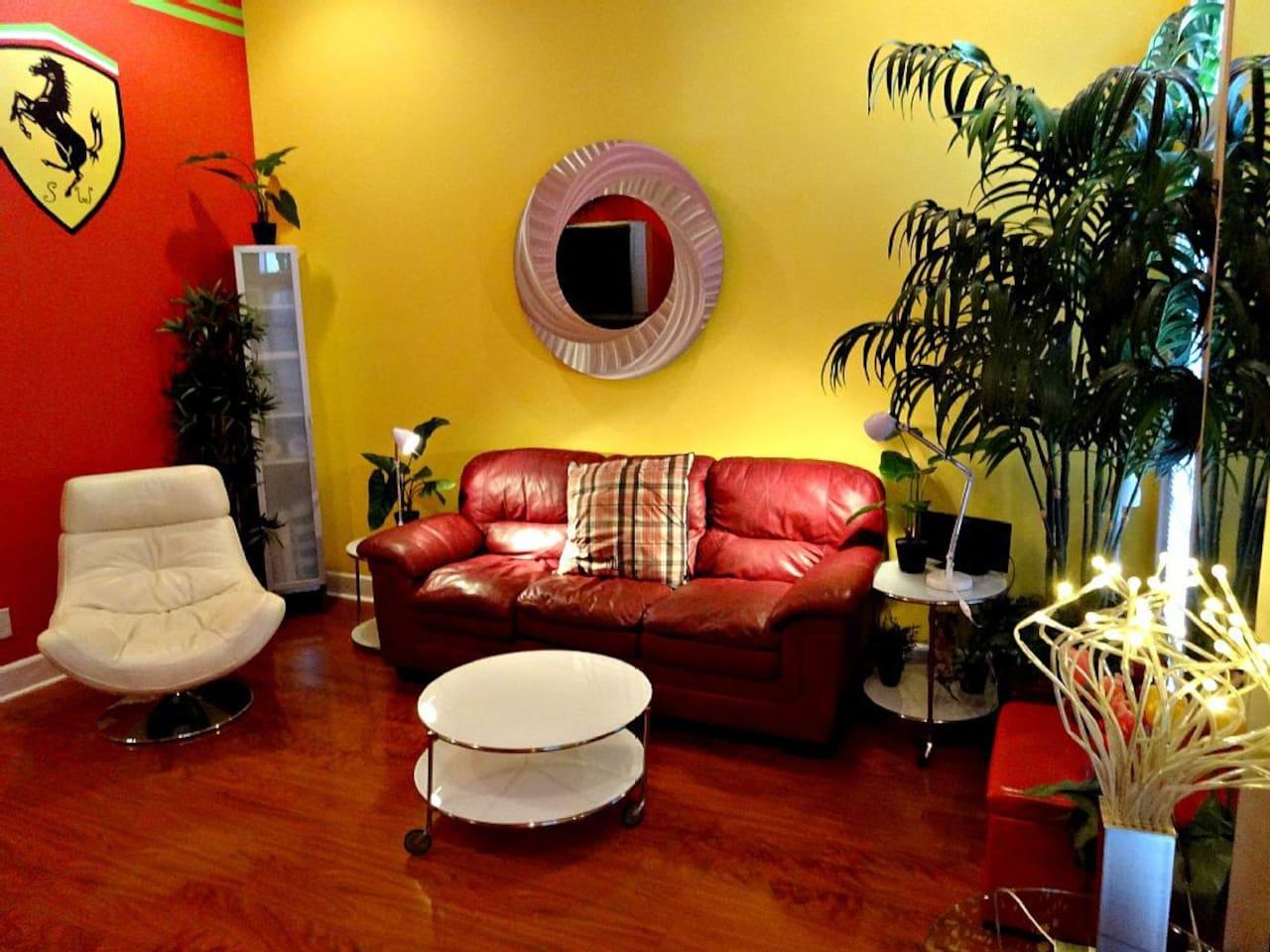 Living room w/ sleeper sofa & chair