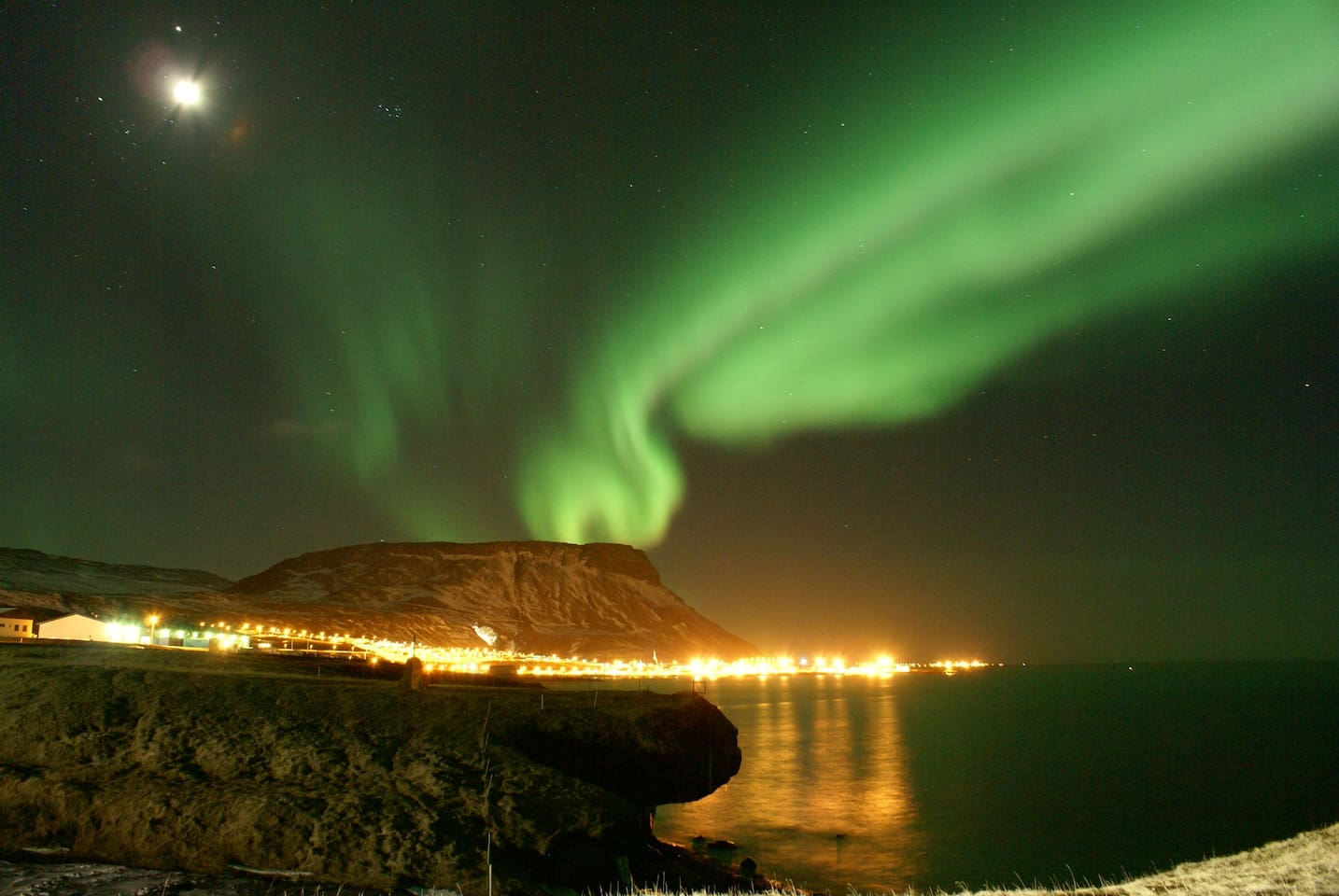 The Northern Lights, Aurora Borealis, are normally seen from our house, given that the clouds are not obscurring them.