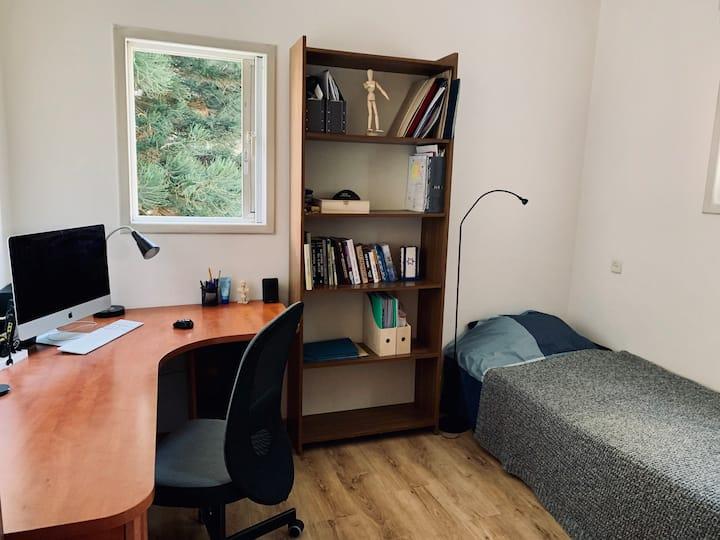 Calm single room in a bright apartment.