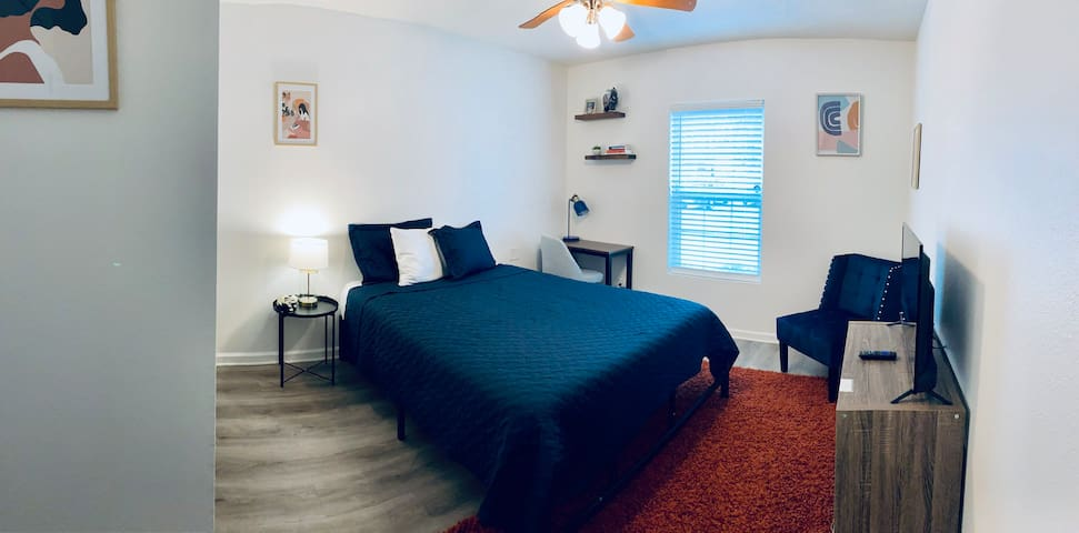 Spacious bedroom with memory foam mattress. Tuck yourself in and prepare for some sweet dreams!