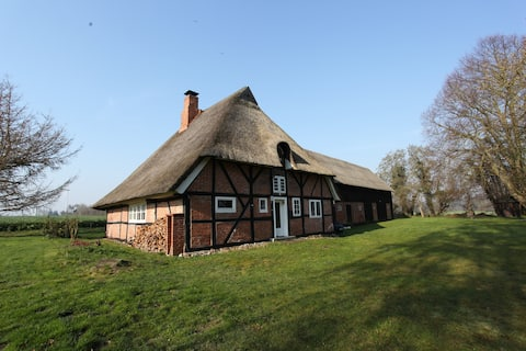 Thatched cottage on the edge of the field with a magnificent view