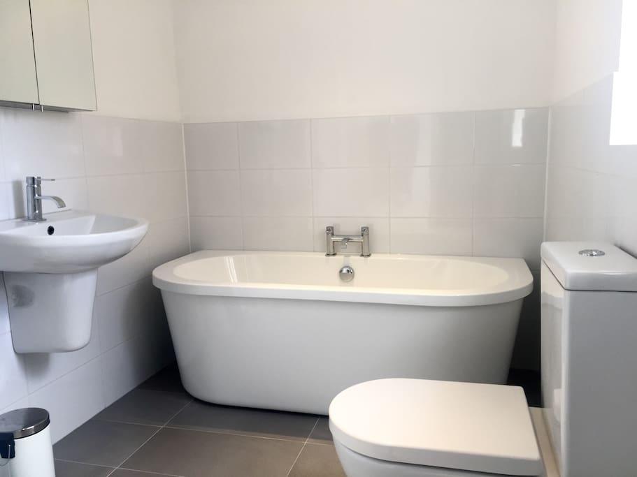 New modern bathroom with shower.