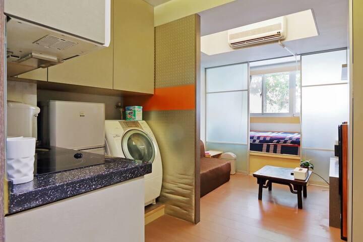 SOHO Ximen MRT (1-4人房)金金的溫馨自宅。