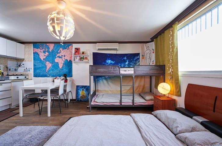 There are two single beds and a double king bed. you can sleep up to  4 people.