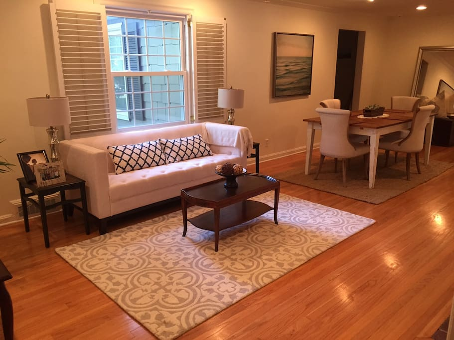 Formal living and dining room; bonus room with comfortable queen size futon off of this room