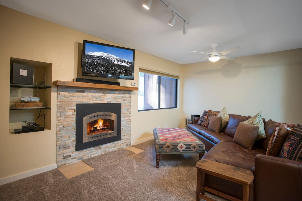 Living Room with gas fireplace that keeps the whole place warm.