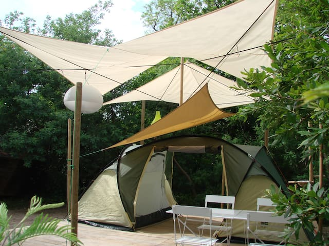 Camping insolite: la PLATEFORME LAGON, Messanges
