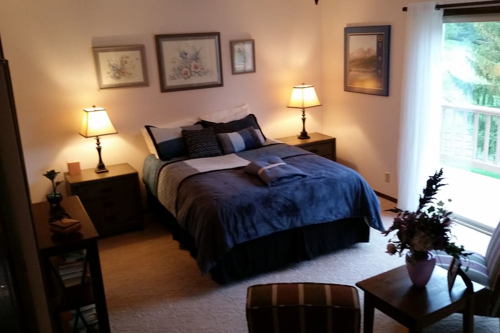 Queen Bed with room facing east.  Enjoy your morning coffee on the deck