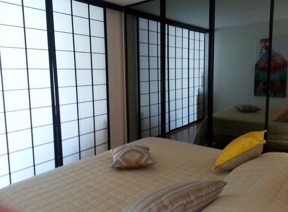 Séparation avec l'espace salon par une cloison japonaise