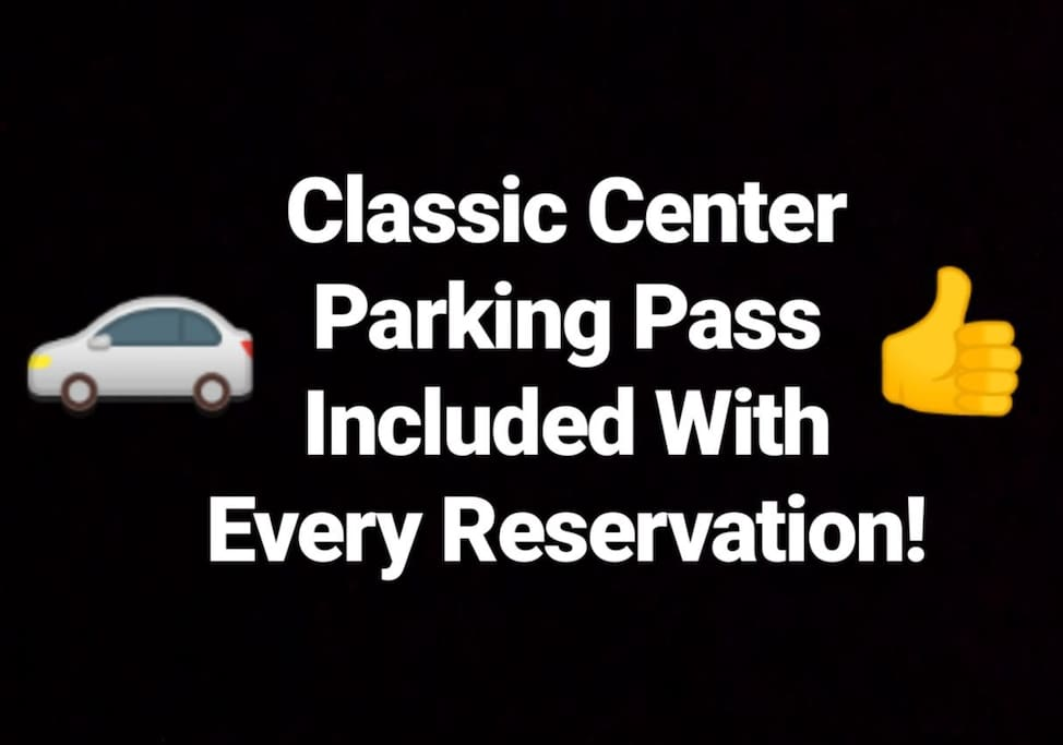 Avoid the cost and hassle of downtown parking with a FREE parking pass for the Classic Center, included in every reservation.