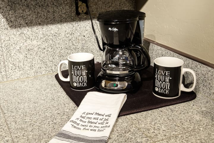 Offering traditional drip coffee as well as Keurig coffee maker with free kcup coffees and teas.